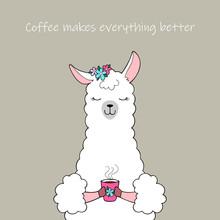 Cute Cartoon Llama Holding A Cup Of Coffee. Hand Drawn Illustration