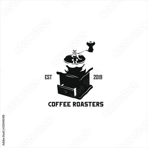 Black silhouette coffee grinder for  coffee roaster logo design emblems and labe Fototapeta