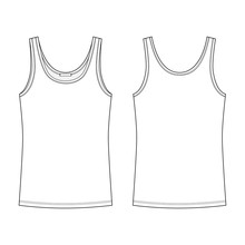 Technical Sketch T-shirt Tank Top For Women Isolated On White Background.