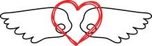 Cute Angel Wings With Love Heart