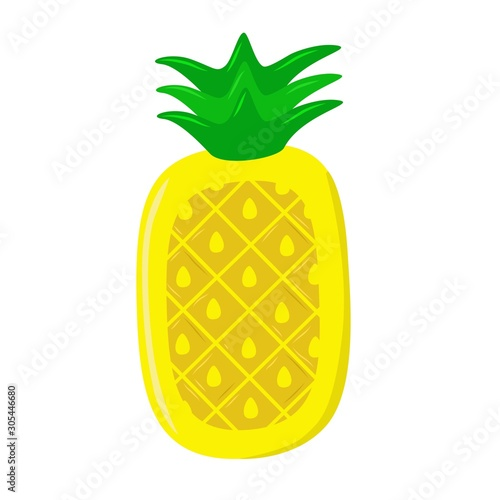 Photo pineapple airbed vector illustration isolated on white background