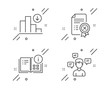 Decreasing graph, Instruction info and Reject certificate line icons set. Conversation messages sign. Crisis chart, Project, Decline file. Communication. Technology set. Vector