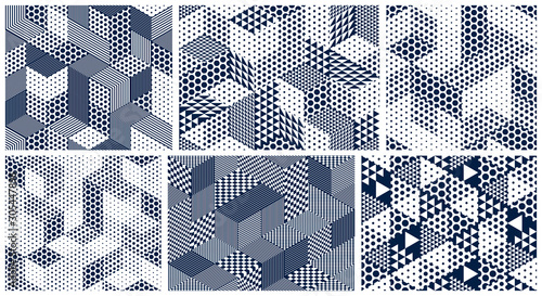 obraz lub plakat 3D dotted cubes seamless patterns vector backgrounds set, dots dimensional blocks, architecture and construction, geometric designs.