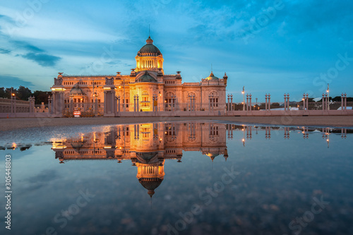 Ananta Samakhom Throne Hall Night reflection reflections on the water Wallpaper Mural