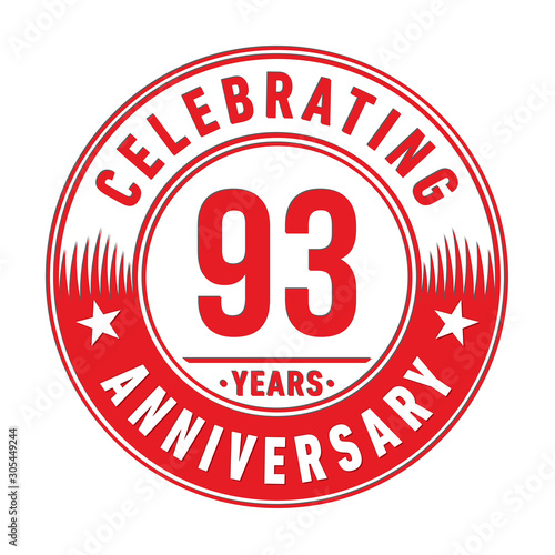 93 years anniversary celebration logo template Canvas-taulu