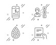 Mobile finance, Opinion and Artificial colors line icons set. Parcel invoice sign. Phone accounting, Choose answer, Natural flavor. Delivery document. Business set. Vector