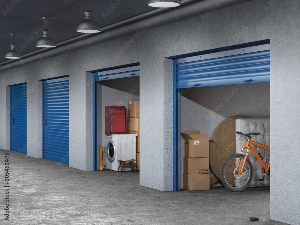 Fototapeta storage hall with open storages doors 3d illustration