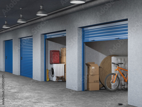 Fototapeta storage hall with open storages doors 3d illustration obraz