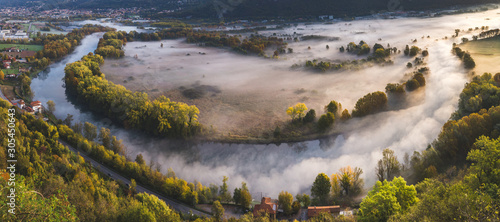 Canvastavla Adda river valley in the fog, Airuno, Lombardy, Italy