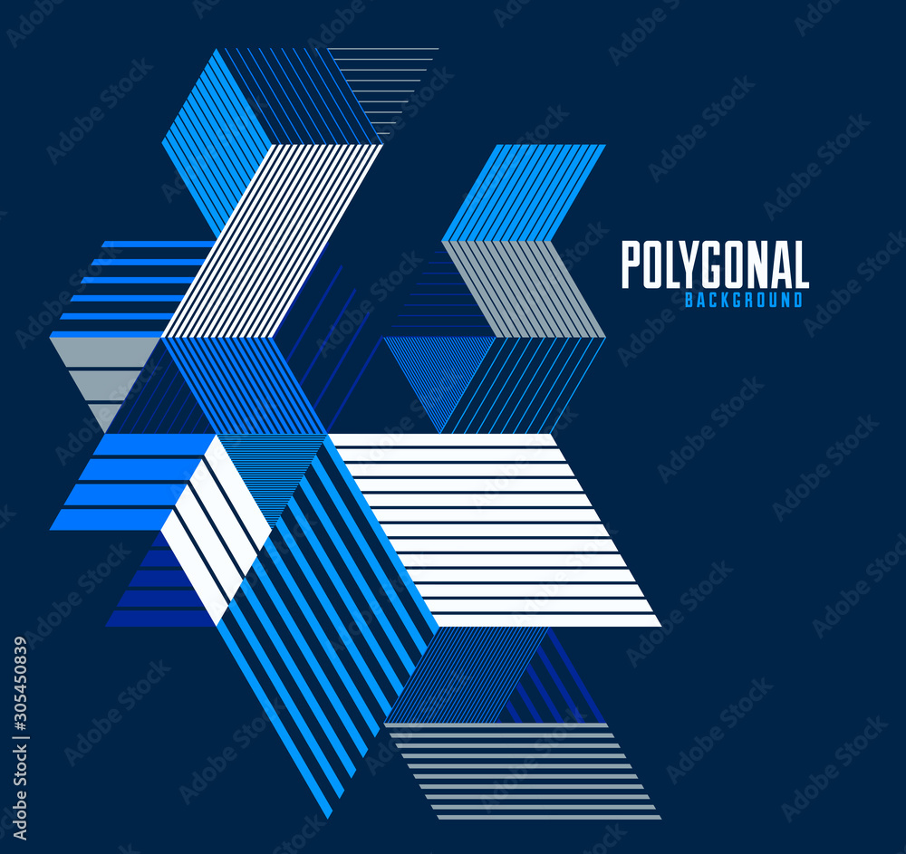 Fototapeta Linear striped abstract vector dimensional 3D background with isolated retro style graphic element with cubes and triangles. Template for poster or banner, cover or ad.