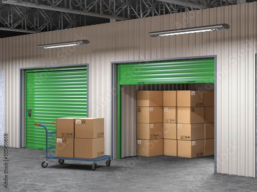 Fotografia storage hall with open storages door and wheelbarrow with boxes 3d illustration