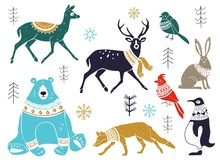 Vector Collection Of Artistic Hand Drawn Christmas Decor Elements In Sketch Style. Christmas Collection With Seasonal Elements. Winter Animals In A Sweater Good For Cards, Gift Tags, Packaging Design.