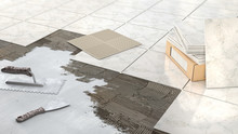 Process Of Laying Marble Tiles...