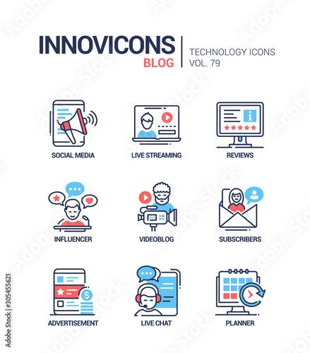 Vászonkép Blog concept line design style icons set