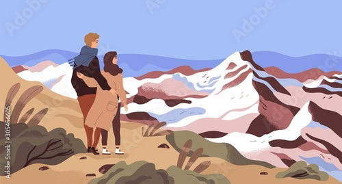 Obraz Mountain rest flat vector illustration. Enamored couple, tourists, holiday makers admiring scenery cartoon characters. Travelling, outing, world watching. Opening new horizons concept. - fototapety do salonu