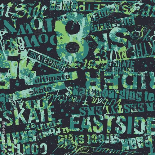 Tapety do pokoju młodzieżowego  skateboarding-urban-grunge-graffiti-abstract-vector-seamless-pattern