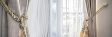 White Curtain Decoration On The Door With Blinds.