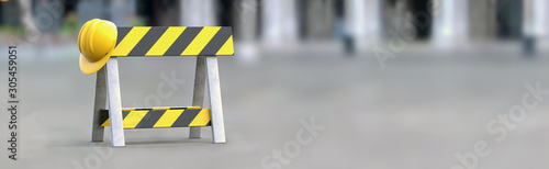 Obraz Barrier - under construction on a gray background. Horizontal banner. Road sign without intersection, road block, no crossing. 3d illustration. - fototapety do salonu