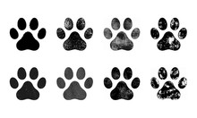Paw Prints Set, Hand Drawn Ske...