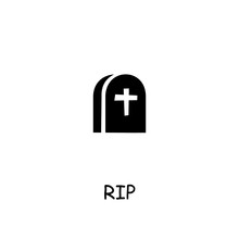 Grave, Rip Flat Vector Icon