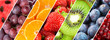 Background of fruits. Mixed ripe fruits and berries.