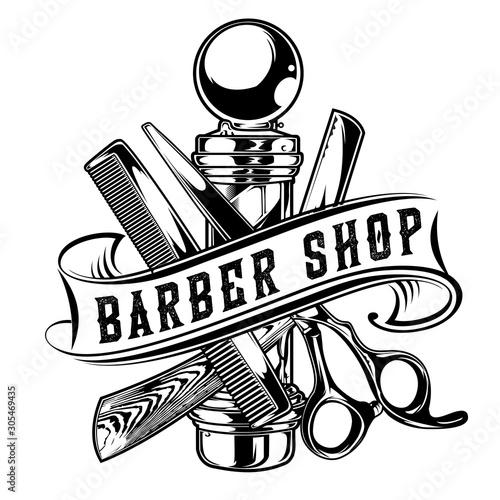 Fotografia, Obraz Barber Shop Hair Salon Hair Stylist Vintage King Logo Luxury Pomade Retro Royal
