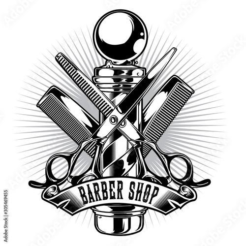Fototapeta Barber Shop Hair Salon Hair Stylist Vintage King Logo Luxury Pomade Retro Royal Vector 02 obraz