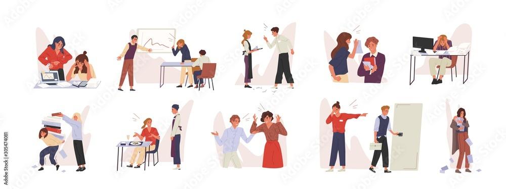 Fototapeta Rudeness in business team vector illustrations set. Bad job, adverse atmosphere, disrespectful attitude towards colleagues concept. Company staff, rude executive and subordinate cartoon characters.