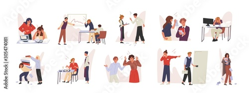 Rudeness in business team vector illustrations set Fototapet