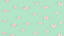 Valentines Day Pink Heart Background, Top View. Turquoise Colored Background, Cute Pink Heart Made Of Paper, Minimalist Pattern Concept Wallpaper For Mothers Day, Romantic Cards, Wedding, Invitations.