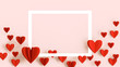 canvas print picture - Valentines Day background, beautiful greeting card with white frame, space for text. Red heart in paper cut technique flying over bright pink background, romantic wedding, anniversary background, love