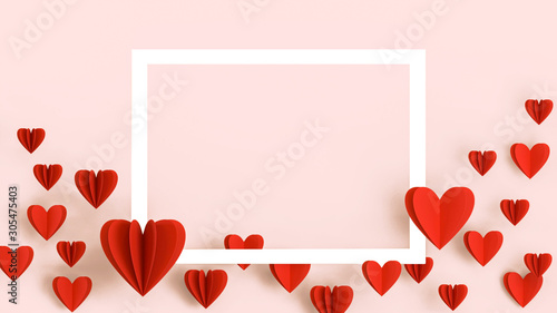 Fototapeta Valentines Day background, beautiful greeting card with white frame, space for text. Red heart in paper cut technique flying over bright pink background, romantic wedding, anniversary background, love obraz