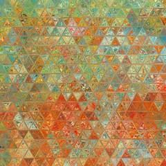 Panel Szklany Podświetlane Wzory geometryczne Vintage style old fashion colors triangle mosaic background.