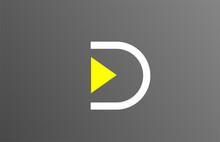 Grey White Yellow Letter D Alphabet Logo Design Icon For Business