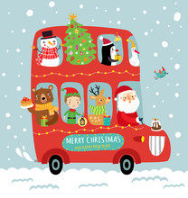 Festive Christmas Bus With Santa And Cute Animals.