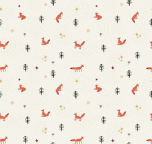 Holiday Seamless Pattern With Fox