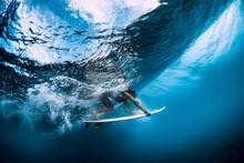 Surfer Make Duck Dive Underwat...
