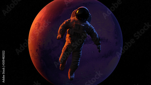 astronaut waving during a space walk in orbit of planet Mars (3d render) Fototapeta