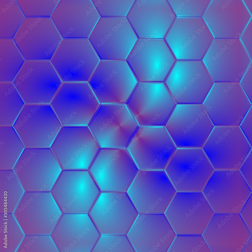 Shiny purple colored hexagonal pattern background.
