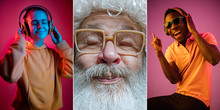 Emotional Santa Claus And His Entourage Greeting With New Year 2020 And Christmas. Man In Traditional Costume With His Multiethnic Friends With Gadgets In Neon Lights. Concept Of Holidays, Winter Mood