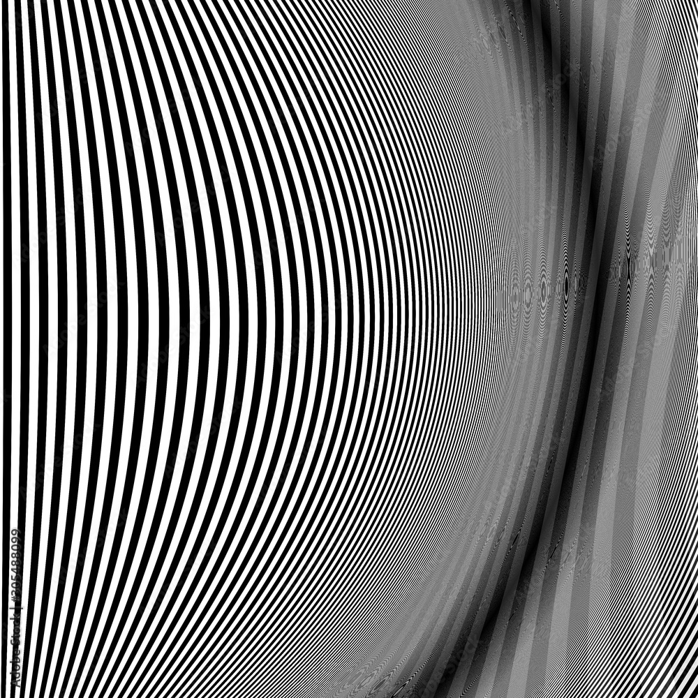 Abstract futuristic black and white erspective lines background.