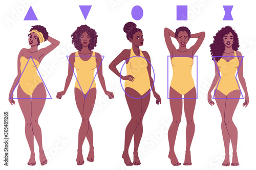 Photo Female Body Shape Types - Pear, Inverted Triangle, Apple, Rectangle, Hourglass