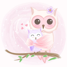 Cute Baby Owl And Mother Hand Drawn Animal Illustration Watercolor On Pink