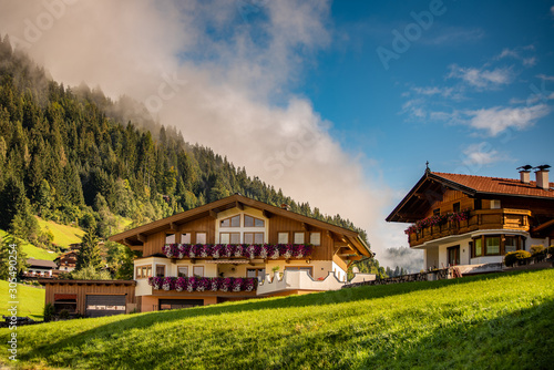 Fotografie, Tablou  Guesthouse in calm place, mountains and nature, Austria, tourism concept
