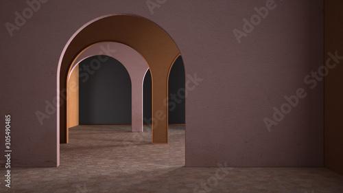 Photo Classic metaphysics surreal interior design, empty space with ceramic floor, arc