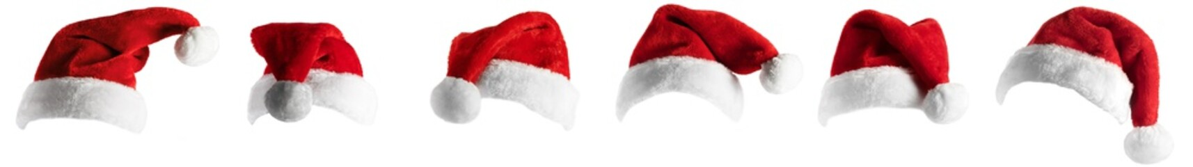 isolated santa hat collection on white