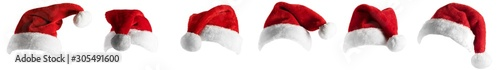 isolated santa hat collection on white Fototapeta