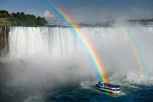 Double Rainbow Ending Over Maid Of The Mist Tour Boat At Horseshoe Falls At Niagara Falls Ontario Canada