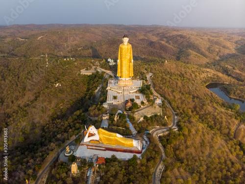 Fotobehang Historisch mon. Aeria view of Laykyun Sekkya giant buddha's near Monywa in Myanmar.