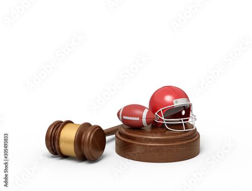 Fotografie, Tablou 3d rendering of ball and helmet for American football on sounding block with judge gavel lying beside